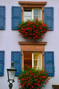 Stock Photo of window with blue shutters