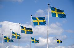 Swedish flags Stock Photos