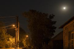 Night Landscape 3. The moon and the street lamps. - stock photo