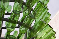 green glass bottels - stock photo