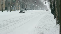 City Traffic in Snowy Winter Day Stock Footage