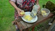 Senior woman hands shredder potato metal grater cat walk Stock Footage
