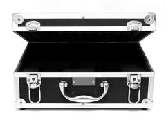 Open black suitcase isolated over white Stock Photos