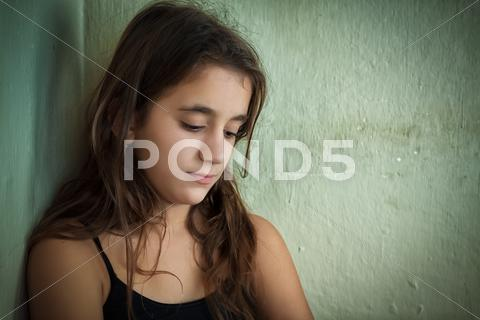 Stock photo of depressed girl with a sad expression