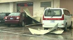 Hurricane Debris Litters Parking Lot - stock footage