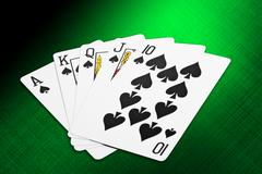 spade royal flush cards from a deck of playing cards - stock illustration