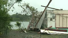 Hurricane Wind Damage To Building - stock footage
