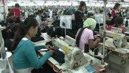 Stock Video Footage of Textile Factory Workers: WS move past rows of workers in garment factory