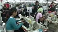 Textile Garment Factory Workers: Excellent move past workers in garment factory Stock Footage