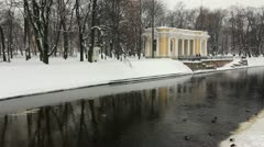 PAN: Unfrozen Moika river, St.Petersburg, Russia Stock Footage
