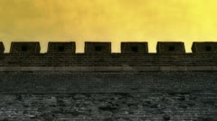 Ancient city Great Wall Battlements.Weathering of masonry. Stock Footage