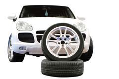 car aluminum wheel and 4x4 suv.jpg - stock photo