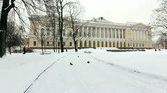 Russian Museum and Alley in winter, St.Petersburg, Russia Stock Footage