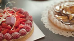 delicous strawberry raspberry tart - stock footage