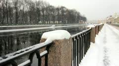 Embankment of the Fontanka River in winter, St.Petersburg, Russia Stock Footage