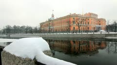 Mikhailovsky Palace in Winter, St.Petersburg, Russia Stock Footage
