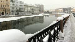 Fontanka River in Winter, St.Petersburg, Russia Stock Footage