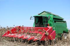 Combine on sunflower harvest.JPG Stock Photos