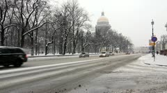 Cars driving next to St. Isaac's Cathedral in winter, St.Petersburg, Russia Stock Footage