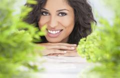 natural health concept beautiful woman smiling - stock photo