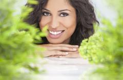 Natural health concept beautiful woman smiling Stock Photos