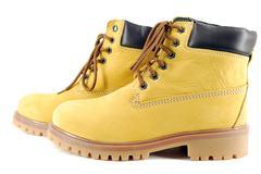 yellow hiking boots.JPG - stock photo