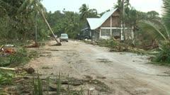 Hurricane Storm Surge Debris Covers Road Stock Footage
