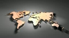 World Map Orange cam1 1 Stock Footage