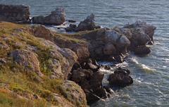 Rocky coast and waves Stock Photos
