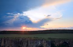sunset bakhchisaray environs view (ukraine) - stock photo
