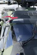 Lähikuva armeijan helikopteri hytti. Kuvituskuvat