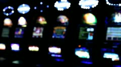 Slot machines videopoker angle view Stock Footage