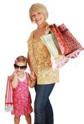 mother and daughter with shopping bags.JPG - stock photo