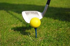 Yellow golf ball.JPG Stock Photos