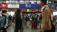 Stock Video Footage of Passengers exit gates of a busy Kyoto train station in Japan