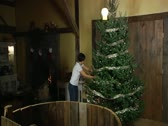 Decorating a 10-foot Christmas Tree in Under 60-seconds Stock Footage