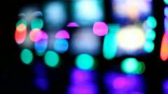 Slot machines videopoker neon bokeh Stock Footage