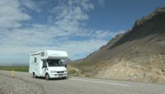 Iceland east cliffs with camper s3 Stock Footage