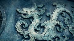 Chinese classical historical bronze dragon pattern. Stock Footage
