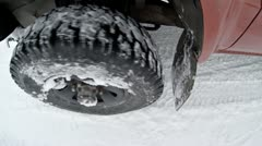Snow Driving 4x4 Wheel Close-up overhead Stock Footage