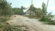 Stock Video Footage of Hurricane Storm Surge Debris Covers Road