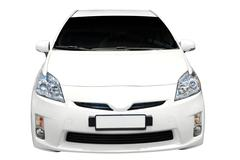 Hybrid car front view.jpg Stock Photos