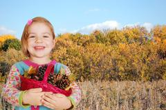 little girl autumn scene.jpg - stock photo