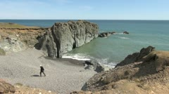 Iceland east Alftafjorour cliffs & beach 1a Stock Footage