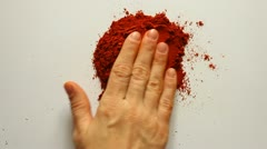 Young Adult Woman Makes Red Heart Symbol of Red Chili Powder Stock Footage