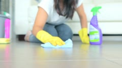 Woman cleaning the floor Stock Footage
