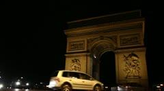 Paris: Traffic around Arc the Triomphe (Night) Stock Footage