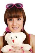 teenage girl with teddy-bear.JPG - stock photo