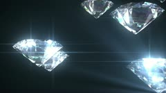 Beautiful Diamonds flying with Matte in Looped animation. HD 1080. Stock Footage