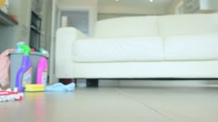Woman mopping the floor Stock Footage